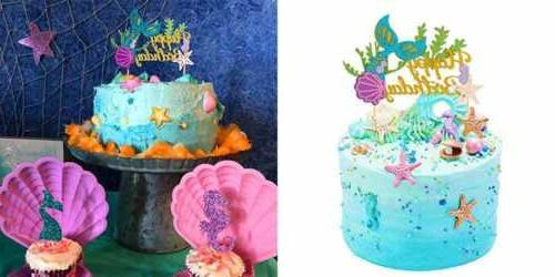 Sakolla Glitter Mermaid Cake Topper Happy Birthday Pick