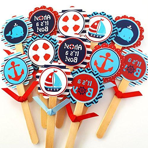 Ahoy a Nautical Cupcake Toppers Children Sea Shower - Set of 12