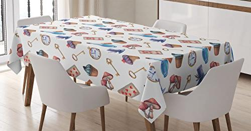 Ambesonne Alice in Wonderland Decorations Tablecloth ...
