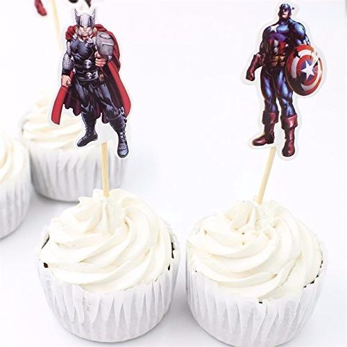 Pack Avengers and Cupcake Topper Picks Boy Children Party Decoration Kid's Party