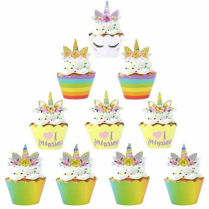 Birthday Banner Kids Party Decorations Unicorn Topper Cupcak