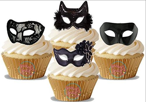 12 Edible Stand Up Premium Wafer Cake Toppers Masquerade Masks Black Mix