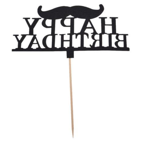 Black Moustache Cupcake Cake Topper Toppers Men