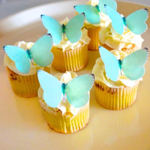 Butterflies  Small Teal Color Set of 24 Cake and Cupcake Top