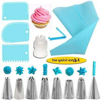 cake decorating kit bags russian piping tips