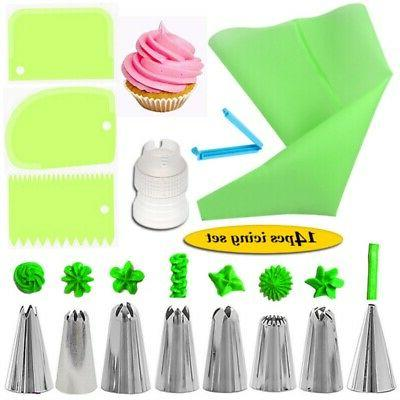 Cake Decorating Russian Tips Icing Bags 14pcs Set