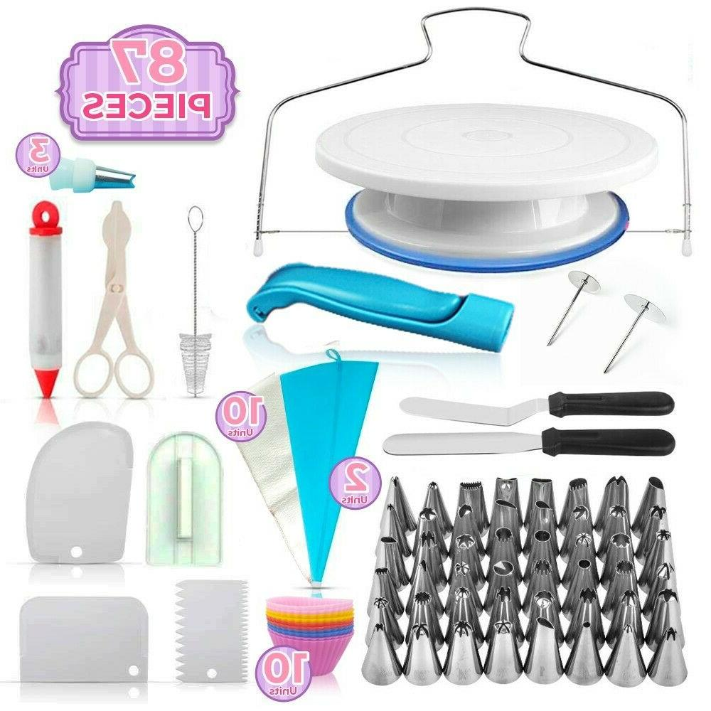 cake decorating supplies kit with turntable stand