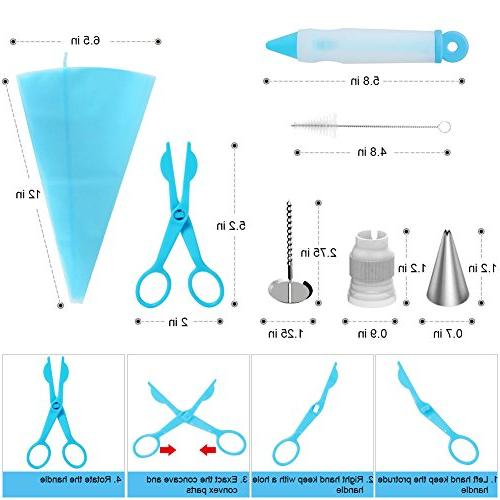 Kootek Supplies Smoother, Piping Nozzles Flower Nails, Pen, Flower Lifter for Decoration Baking Tools