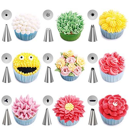 Kootek 42-Piece Supplies Tips, Pastry Bags, Smoother, Coupler, Flower Nails, Flower Lifter for Decoration