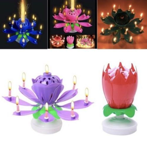 Cake Topper Birthday Lotus Candle Flower Decoration Musical