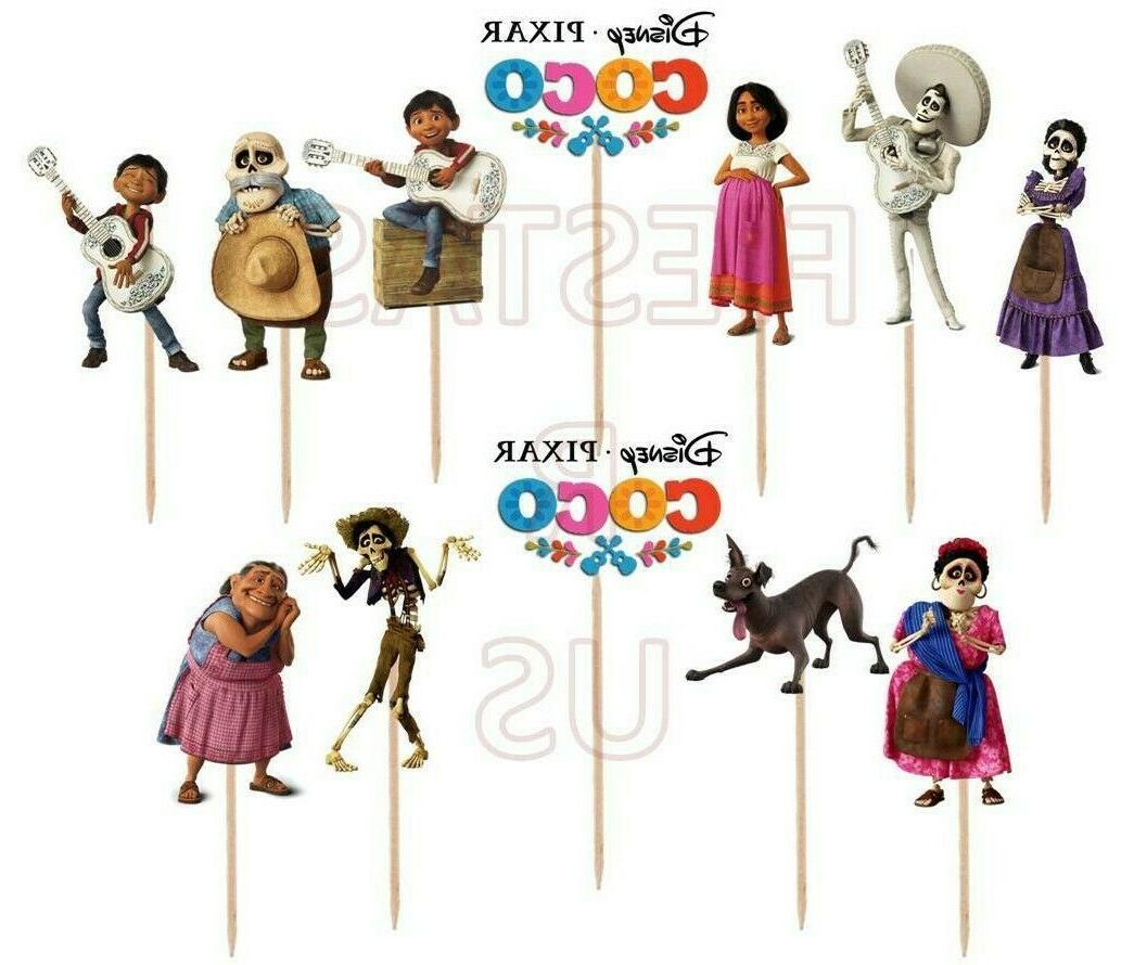 coco cupcake toppers 12 or 24 pc