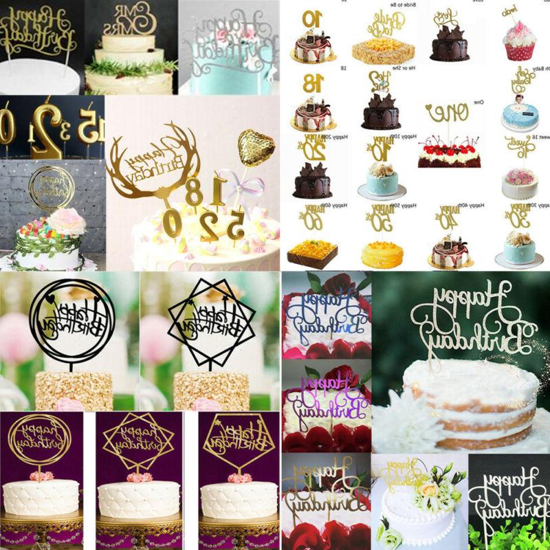 """Creative Cake Topper """"Happy Birthday""""10th-60th Candle Party"""
