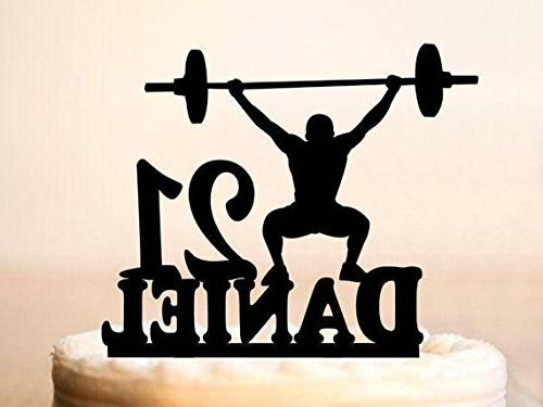 Custom Weightlifting Cake Topper Name Age Birthday Party