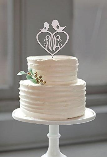 customized monogram love birds wood cake topper