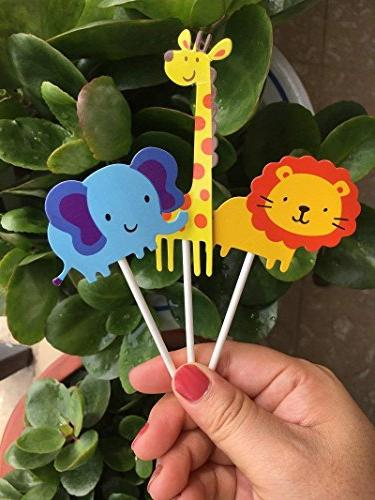 kapoklife 28-Pack Cute Animal Toppers Picks,Jungle Animals Party Decoration Supplies