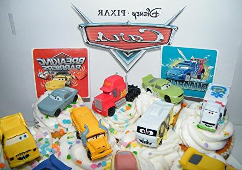 Disney Movie Deluxe Cake Toppers Set Plastic Cars, Sticker Sheet ToyRing Lightning McQueen, Damage and More!