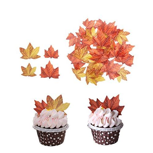 edible fall leaves cake decorations
