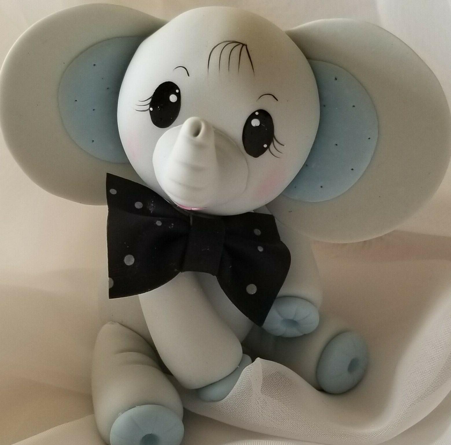 Elephant Cake Topper Baby Elephant In Gray with Blue Little