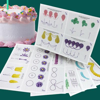 Fondant Icing Piping Practice Paper Board Template Cake Deco