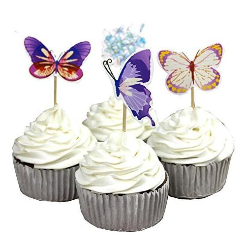 garden butterfly flowers cupcake toppers