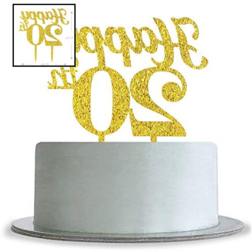 Gold Happy 20th Birthday Cake Topper Wedding Anniversary Party Decoration