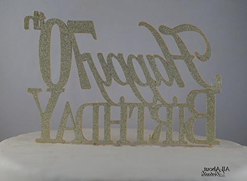 gold happy 70th birthday cake topper
