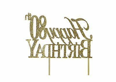 gold happy 80th birthday cake topper free