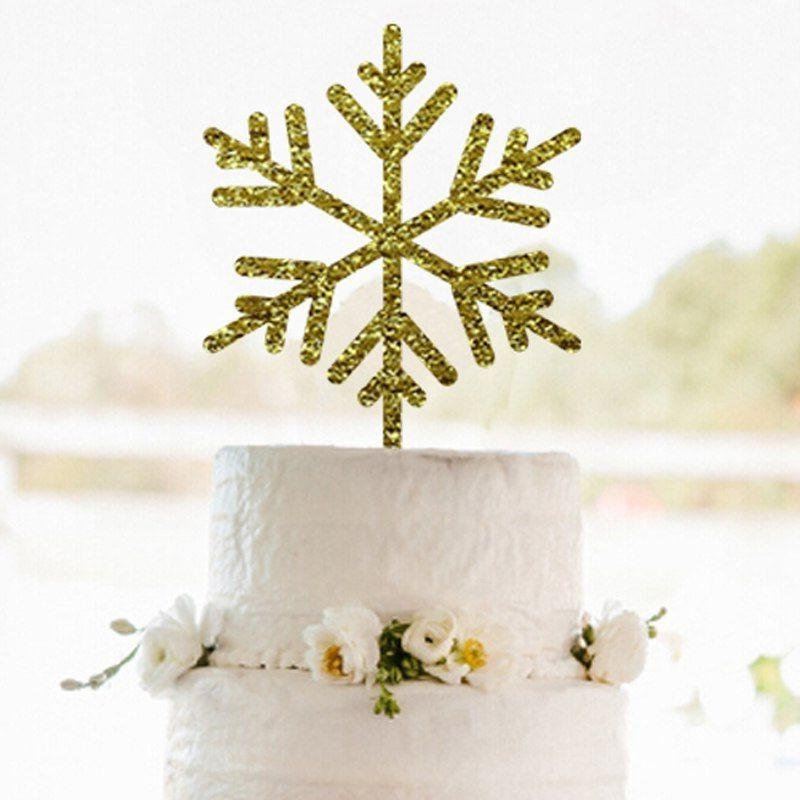 gold snowflakes cake topper merry christmas decorations