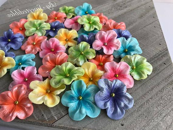 Gum Edible Colored Blossoms Cake and