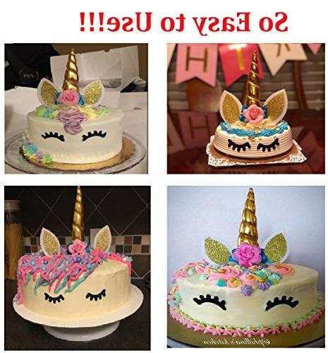 PalkSky Handmade Birthday Toppers set. Unicorn Horn, flowers Set. Decoration and birthday