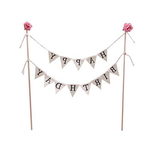 Soccerene Happy Garland, Handmade Flags with Wood Pink