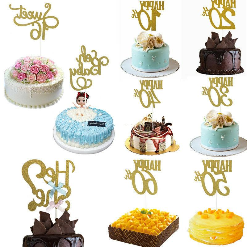 10 20 30 40 50 60 Years Birthday Cake Toppers Glitter
