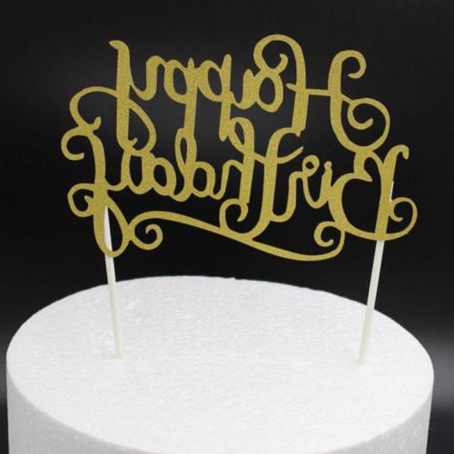 """""""Happy Birthday""""Simple Gold Silver DIY Party Supplies FT"""