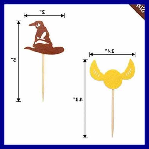 Harry Potter Cupcake Toppers Wizard Birthday Cake Decorations Pac