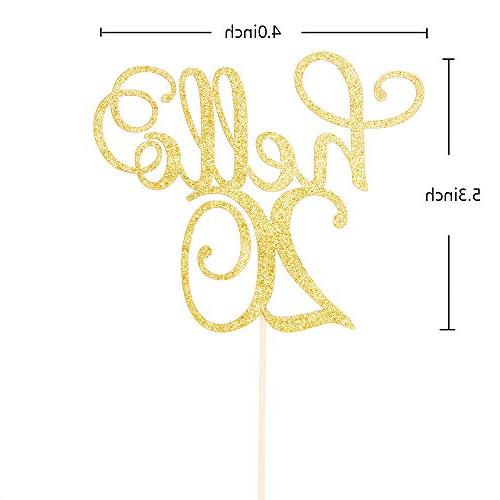 Hello 20 Cake Topper 20th Birthday Wedding Anniversary Party Sign
