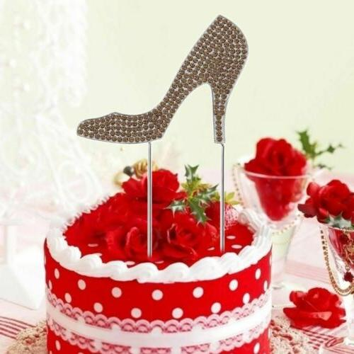 High Heel Glitter Cake Topper Dessert Pick Birthday Decoration