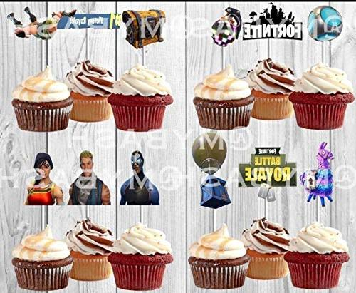 Inspired Fortnite Cupcake Toppers Birthday Game Day Sports Fully Assembled Toppers 12 Toppers Ready To Ship