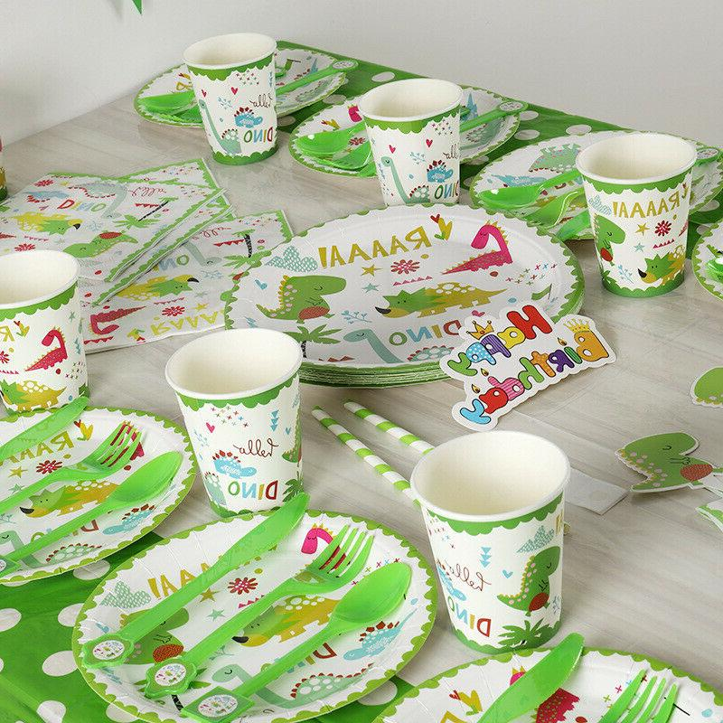 Kids Dinosaur Theme Birthday Party Supplies Decorations Tableware