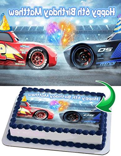 Lightning Mcqueen Cars 3 Disney Pixar Birthday Cake Personalized Cake Toppers Edible Frosting Photo Icing Sugar Paper A4 Sheet 1 4 Best Quality