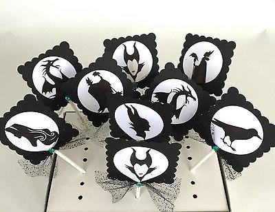 Maleficent Cupcake Toppers, decor/ party OF 10