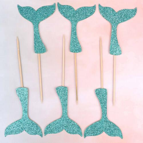mermaid fishtail flag cake topper birthday party decors supplies girl favor RS
