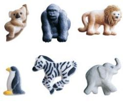 "24pk Mini Zoo Animals 1"" - 1 5/8"" Edible Sugar Decoration To"