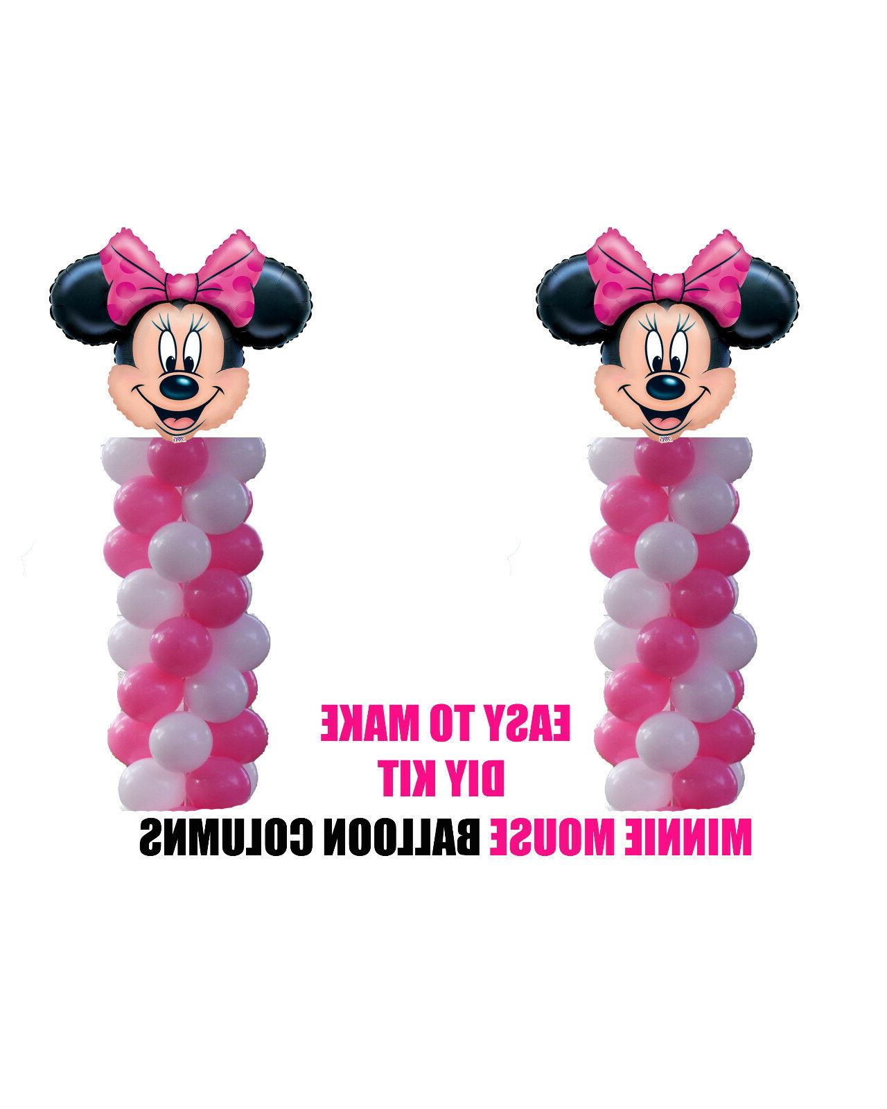 Minnie Mouse Birthday Column Balloons Decorations Cake Gift
