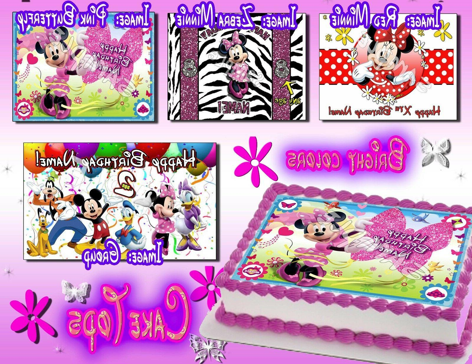 minnie mouse edible birthday cake or cupcake