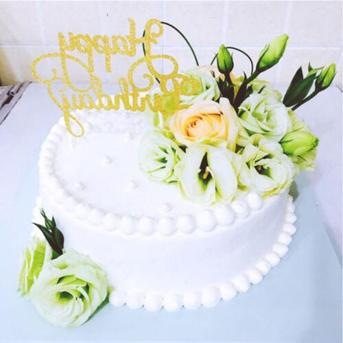 New Silver Cake Topper Happy Birthday Party Supplies Decorat
