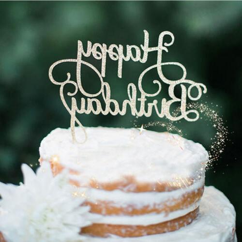 New Gold Silver Cake Topper Happy Birthday Party Supplies De