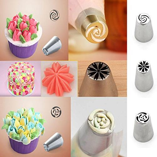 Set of - Different Flower Nozzles Icing Piping Nozzles Decoration DIY Tulip Nozzle