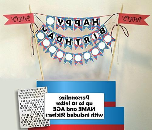 personalized cake topper flag bunting