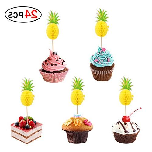 Pineapple Cake Topper Set Of 24 Cupcake Toppers