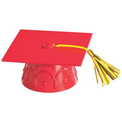 Red Graduation Cap Hat Cake Topper Cupcake Candy Cookie Deco